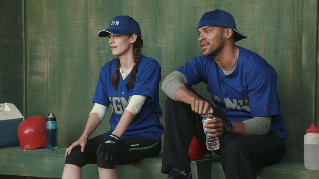 "GREY'S ANATOMY - ""Put Me In, Coach"" - Owen stresses teamwork and moves his leadership role over to the baseball field when he signs the doctors up for a baseball league, pitting them against their biggest competition, Seattle Presbyterian; Lexie tries to hide her jealous rage when she sees Mark with a new woman, but her emotions get the better of her; Alex fights to keep Zola at Seattle Grace after it is suggested that she be moved to another hospital due to a conflict of interest with Meredith and Derek; and Richard scolds Meredith and Bailey for their feud, on Grey's Anatomy, THURSDAY, OCTOBER 27 (9:00-10:02 p.m., ET) on the ABC Television Network. (ABC/RICHARD CARTWRIGHT)CHYLER LEIGH, JESSE WILLIAMS"