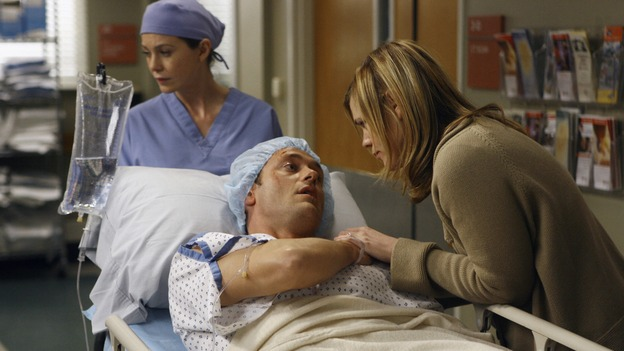 "GREY'S ANATOMY - ""Piece of My Heart"" - Addison returns to Seattle Grace to perform an operation and is taken aback by all of the changes in her old co-workers' lives. Meanwhile Meredith and Derek's clinical trial has its first patient, and Rebecca/Ava returns with shocking news for Alex, on ""Grey's Anatomy,"" THURSDAY, MAY 1 (9:00-10:01 p.m., ET) on the ABC Television Network.  (ABC/SCOTT GARFIELD)ELLEN POMPEO, JASON O'MARA, CLEA DUVALL"