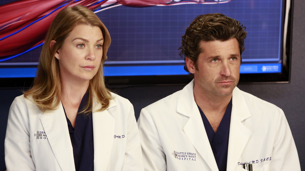 "GREY'S ANATOMY - ""Run Baby Run"" - As the rest of the doctors prepare for Bailey's wedding, Richard helps her through a bout of pre-wedding jitters. Meanwhile, Lizzie butts heads with Meredith, and Callie and Jackson try to convince Derek to participate in a risky surgery that could fix his hand, on ""Grey's Anatomy,"" THURSDAY, DECEMBER 13 (9:00-10:02 p.m., ET) on the ABC Television Network. (ABC/RON TOM)ELLEN POMPEO, PATRICK DEMPSEY"