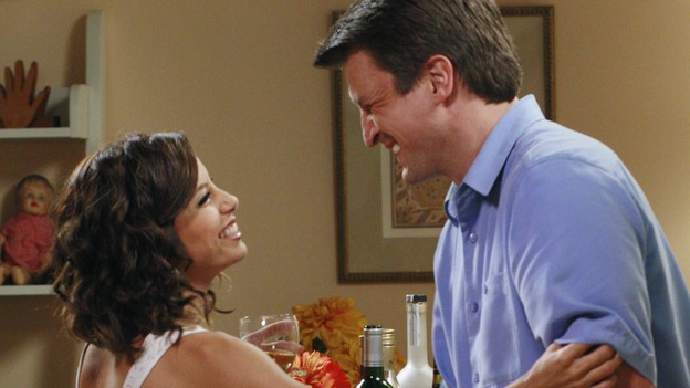 "DESPERATE HOUSEWIVES - ""The Game"" - Gaby flirting with Dr. Adam Mayfair.  SUNDAY, OCTOBER 14 (9:00-10:01 p.m., ET) on the ABC Television Network. (ABC/RON TOM) EVA LONGORIA, NATHAN FILLION"