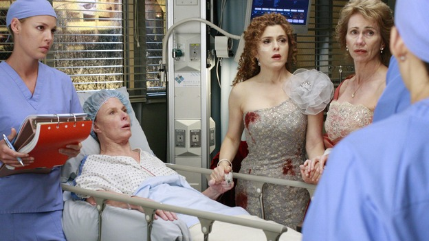"GREY'S ANATOMY - ""Dream a Little Dream of Me"" - On the two-hour season premiere of ""Grey's Anatomy,"" Meredith and Derek learn that ""happily ever after"" isn't easy, a military doctor who brings in a trauma patient catches Cristina's eye, and the Chief and his staff reel at the news that Seattle Grace is no longer nationally ranked as a top-tier teaching hospital, on ""Grey's Anatomy,"" THURSDAY, SEPTEMBER 25 (9:00-11:00 p.m., ET) on the ABC Television Network. (ABC/RON TOM)KATHERINE HEIGL, MARIETTE HARTLEY, BERNADETTE PETERS, KATHY BAKER"
