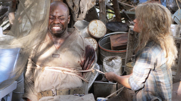 "LOST - ""Lighthouse"" - Hurley must convince Jack to accompany him on an unspecified mission, and Jin stumbles across an old friend, on ""Lost,"" TUESDAY, FEBRUARY 23 (9:00-10:00 p.m., ET) on the ABC Television Network. (ABC/MARIO PEREZ)DAYO ADE, EMILIE DE RAVIN"