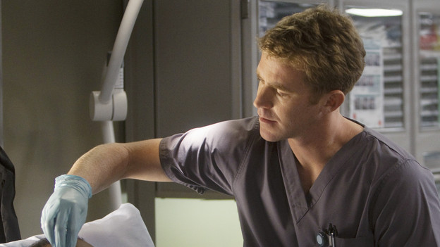 "GREY'S ANATOMY - ""Don't Deceive Me (Please Don't Go)"" - Derek breaks ground on his Alzheimer's clinical trial and Meredith can't help but feel left out; Bailey's attempt to take the hospital into the age of new media with live tweets from the OR does not go over well with the Chief; and Callie, Mark and Arizona must learn to navigate through the pregnancy together, which starts off with Callie driving her new obstetrician (guest star Rachael Taylor) crazy, on ""Grey's Anatomy,"" THURSDAY, FEBRUARY 3 (9:00-10:01 p.m., ET) on the ABC Television Network. (ABC/RANDY HOLMES)HARRISON PAGE, EVANS BROWN"