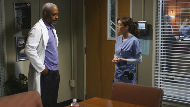 "GREY'S ANATOMY - ""Testing 1-2-3"" - The interns take the biggest test of their careers, their first-year medical exams, as the residents attend to three injured mountain climbers. Meanwhile Callie's suspicions of George and Izzie grow, and Cristina struggles to write her wedding vows, on ""Grey's Anatomy,"" THURSDAY, MAY 10 (9:00-10:01 p.m., ET) on the ABC Television Network. (ABC/SCOTT GARFIELD)JAMES PICKENS, JR., ELLEN POMPEO"
