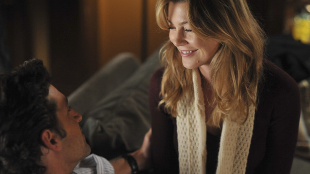"GREY'S ANATOMY- ""Here Comes the Flood"" - Derek and Meredith get cozy when he movies in with her, on ""Grey's Anatomy,"" THURSDAY, OCTOBER 9 (9:00-10:01 p.m., ET) on the ABC Television Network. (ABC/ERIC McCANDLESS) PATRICK DEMPSEY, ELLEN POMPEO"