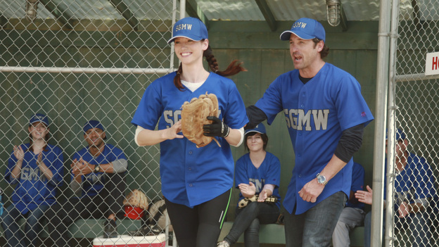 GREY'S ANATOMY - &quot;Put Me In, Coach&quot; - Owen stresses teamwork and moves his leadership role over to the baseball field when he signs the doctors up for a baseball league, pitting them against their biggest competition, Seattle Presbyterian; Lexie tries to hide her jealous rage when she sees Mark with a new woman, but her emotions get the better of her; Alex fights to keep Zola at Seattle Grace after it is suggested that she be moved to another hospital due to a conflict of interest with Meredith and Derek; and Richard scolds Meredith and Bailey for their feud, on Grey's Anatomy, THURSDAY, OCTOBER 27 (9:00-10:02 p.m., ET) on the ABC Television Network. (ABC/RICHARD CARTWRIGHT)SARAH DREW, JESSE WILLIAMS, CHYLER LEIGH, PATRICK DEMPSEY