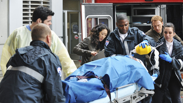 "GREY'S ANATOMY - ""Perfect Little Accident"" - When famous surgeon Dr. Harper Avery is rushed to Seattle Grace-Mercy West, the staff is surprised to discover that one of their own is related to this legend, and his unorthodox request for his surgery causes tensions between Derek and Richard. Meanwhile Callie and Arizona try to help Teddy and Sloan move on from their pasts and find greener pastures, on ""Grey's Anatomy,"" THURSDAY, MARCH 4 (9:00-10:01 p.m., ET) on the ABC Television Network. (ABC/ERIC MCCANDLESS)ROBERT BAKER, SANDRA OH, KEVIN MCKIDD"