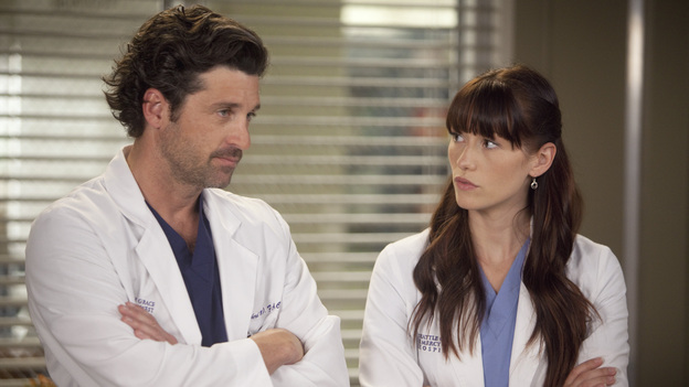 GREY'S ANATOMY - &quot;Heart-Shaped Box&quot; - The doctors become nostalgic when George O'Malley's mother, Louise, returns to Seattle Grace for medical help after a botched surgery at a neighboring hospital; the residents are inspired by a medical miracle when they witness a harvested heart that continues to beat outside the body; a new pediatric fellow excites Arizona and makes Alex feel threatened; Jackson lets his suspicions about Mark and Lexie interfere with his work; and Henry and Teddy have their first marital fight when he expresses interest in pursuing medical school, on &quot;Grey's Anatomy,&quot; THURSDAY, NOVEMBER 3 (9:00-10:02 p.m., ET) on the ABC Television Network. (ABC/RANDY HOLMES) PATRICK DEMPSEY, CHYLER LEIGH