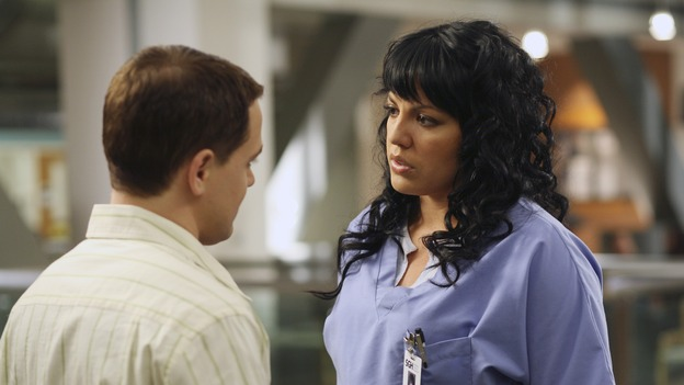 "GREY'S ANATOMY - ""Let the Angels Commit"" -- Cristina scrubs in on the rare 'humpty dumpty' procedure, much to the envy of her fellow doctors, Alex questions his future medical specialty, George and Addison work with a pregnant woman with an unusual dilemma, and Derek receives a surprise visit from his sister, on ""Grey's Anatomy,"" THURSDAY, OCTOBER 26 (9:00-10:01 p.m., ET) on the ABC Television Network. (ABC/RICHARD CARTWRIGHT)T.R. KNIGHT, SARA RAMIREZ"