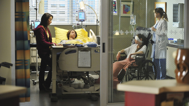 "GREY'S ANATOMY - ""Suddenly"" - A severe car crash involving an entire family results in an all-hands-on situation in the ER, as the eldest daughter is left to make the toughest decision of her life. Meanwhile Teddy, still in the dark about Henry's death, calls upon Cristina to help with her patient in the O.R., and Lexie finds herself working alongside Mark's new girlfriend, Julia, during an eye surgery on Grey's Anatomy, THURSDAY, JANUARY 5 (9:00-10:02 p.m., ET) on the ABC Television Network. (ABC/RICHARD FOREMAN)STELLA MAEVE, BRIDGER ZADINA, SAIGE RYAN CAMPBELL, ELLEN POMPEO"