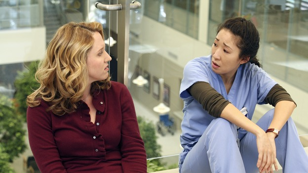 "GREY'S ANATOMY - ""From a Whisper to a Scream"" - A traumatic car accident fills the ER, Cristina has a crisis of conscience about her deceptive teamwork with Burke, and Izzie pushes the boundaries of her probation, on ""Grey's Anatomy,"" THURSDAY, NOVEMBER 23 (9:00-10:01 p.m., ET) on the ABC Television Network. (ABC/KAREN NEAL)BROOKE SMITH, SANDRA OH"
