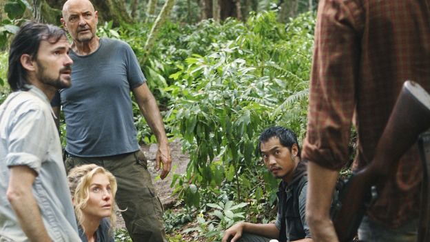 "LOST -  ""This Place is Death"" - Faraday, Juliet, Locke, Miles and Sawyer deal with the debilitating effects of the island's increasingly violent temporal shifts as they try to reach the Orchid, on ""Lost,"" WEDNESDAY, FEBRUARY 11 (9:00-10:02 p.m., ET) on the ABC Television Network.  (ABC/MARIO PEREZ) JEREMY DAVIES, ELIZABETH MITCHELL, TERRY O'QUINN, KEN LEUNG, JOSH HOLLOWAY"