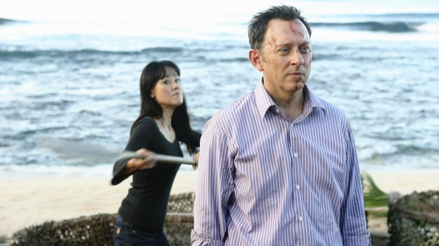 "LOST - ""Namaste"" - When some old friends drop in unannounced, Sawyer is forced to further perpetuate his lie in order to protect them, on ""Lost,"" WEDNESDAY, MARCH 18 (9:00-10:02 p.m., ET) on the ABC Television Network. (ABC/MARIO PEREZ)YUNJIN KIM, MICHAEL EMERSON"
