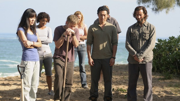 LOST - &quot;Catch-22&quot; - Desmond coaxes Charlie, Hurley and Jin on a trek across the jungle after experiencing one of his future-prophesizing &quot;flashes&quot; -- but is he purposely placing Charlie's life in harm's way? Meanwhile, Kate turns to an unwitting Sawyer after seeing Jack alone with Juliet, on &quot;Lost,&quot; WEDNESDAY, APRIL 18 (10:00-11:00 p.m., ET), on the ABC Television Network. (ABC/MARIO PEREZ)YUNJIN KIM, DOMINIC MONAGHAN, DANIEL DAE KIM, HENRY IAN CUSICK