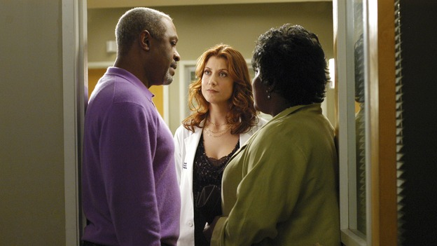 "GREY'S ANATOMY - In the first hour of part two of the season finale of ABC's ""Grey's Anatomy"" -- ""Deterioration of the Fight or Flight Response"" -- Izzie and George attend to Denny as the pressure increases to find him a new heart, Cristina suddenly finds herself in charge of an ER, and Derek grapples with the realization that the life of a friend is in his hands. In the second hour, ""Losing My Religion,"" Richard goes into interrogation mode about a patient's condition, Callie confronts George about his feelings for her, and Meredith and Derek meet about Doc. Part two of the season finale of ""Grey's Anatomy"" airs MONDAY, MAY 15 (9:00-11:00 p.m., ET) on the ABC Television Network. (ABC/GALE ADLER)JAMES PICKENS, JR., KATE WALSH, LORETTA DEVINE"
