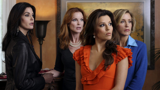 "DESPERATE HOUSEWIVES - ""Lovely"" - Susan causes quite a stir when she invites a former stripper into her home on ABC's ""Desperate Housewives,"" SUNDAY, FEBRUARY 21 (9:00-10:01 p.m., ET). Former exotic dancer Robin will have a profound effect on Susan's friends -- with three teenage boys at home, Lynette will keep a watchful eye; Bree picks up a few tricks to engage Orson; Gaby looks for help with troublesome niece Ana; and Katherine will find a friendly companion. (ABC/ERIC MCCANDLESS)TERI HATCHER, MARCIA CROSS, EVA LONGORIA PARKER, FELICITY HUFFMAN"