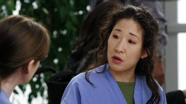 "GREY'S ANATOMY - ""Scars and Souvenirs"" - The race for chief heats up after a new competitor enters the fray, tensions escalate between Izzie and George, and Callie must reveal a big secret. Meanwhile, Derek treats a patient near and dear to him, while Alex continues his work with Jane Doe, on ""Grey's Anatomy,"" THURSDAY, MARCH 15 (9:00-10:01 p.m., ET) on the ABC Television Network. (ABC/RON TOM)ELLEN POMPEO, SANDRA OH"