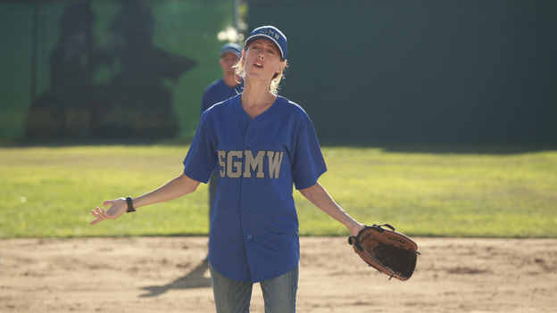 "GREY'S ANATOMY - ""Put Me In, Coach"" - Owen stresses teamwork and moves his leadership role over to the baseball field when he signs the doctors up for a baseball league, pitting them against their biggest competition, Seattle Presbyterian; Lexie tries to hide her jealous rage when she sees Mark with a new woman, but her emotions get the better of her; Alex fights to keep Zola at Seattle Grace after it is suggested that she be moved to another hospital due to a conflict of interest with Meredith and Derek; and Richard scolds Meredith and Bailey for their feud, on Grey's Anatomy, THURSDAY, OCTOBER 27 (9:00-10:02 p.m., ET) on the ABC Television Network. (ABC/RICHARD CARTWRIGHT)KIM RAVER"