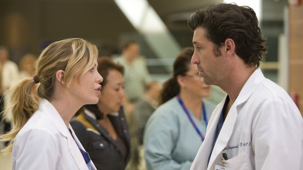 "GREY'S ANATOMY - ""Freedom"" - On the two-hour season finale of ""Grey's Anatomy,"" Meredith and Derek have one last shot at a successful outcome in their clinical trial, as the other surgeons work together to free a boy from a hardening block of cement. Meanwhile, Izzie helps Alex care for an ailing Rebecca, and Lexie discovers critical information about George's intern status, on ""Grey's Anatomy,"" THURSDAY, MAY 22 (9:00-11:00 p.m., ET) on the ABC Television Network. (ABC/RANDY HOLMES)ELLEN POMPEO, PATRICK DEMPSEY"