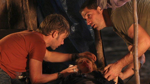 "LOST - ""One of Us"" - Jack's joyous reunion with his fellow survivors is cut short when they realize that accompanying him is one of ""The Others,"" and Claire is stricken by a mysterious, life-threatening illness, on ""Lost,"" WEDNESDAY, APRIL 11 (10:00-11:00 p.m., ET), on the ABC Television Network. (ABC/MARIO PEREZ)DOMINIC MONAGHAN, EMILIE DE RAVIN, MATTHEW FOX"