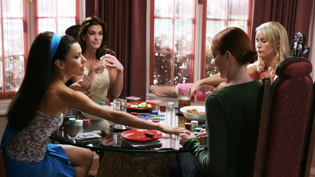 "DESPERATE HOUSEWIVES - ""They Asked Me Why I Believe in You"" -- Susan's longtime book agent and dear friend, Lonny Moon (guest star Wallace Shawn), gets into financial trouble; Lynette is forced to go out to bars night after night with her man-hungry boss, Nina (guest star Joely Fisher); Bree re-buries Rex amid police suspicions, and Gaby hires hotshot lawyer David Bradley (guest star Adrian Pasdar) to defend Carlos, on Desperate Housewives,"" SUNDAY, OCTOBER 23 (9:00-10:01 p.m., ET) on the ABC Television Network. (ABC/RON TOM)EVA LONGORIA, TERI HATCHER, MARCIA CROSS, NICOLLETTE SHERIDAN"