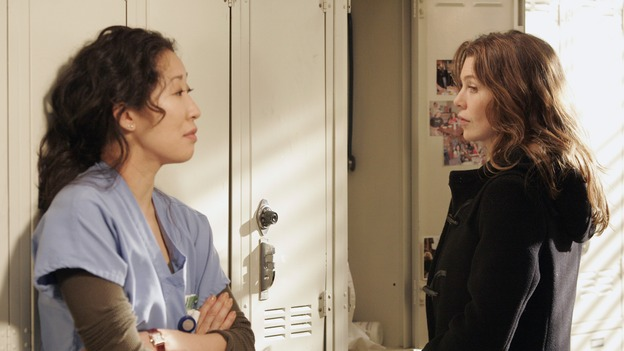 "GREY'S ANATOMY - ""Time After Time"" - Izzie faces her past and finds comfort in George, while Alex becomes more attached to Jane Doe (Elizabeth Reaser), Meredith and Derek question their own status, and Cristina resolves to fight for her relationship with Burke -- despite her past with Colin Marlow (Roger Rees) -- on ""Grey's Anatomy,"" THURSDAY, APRIL 19 (9:00-10:01 p.m., ET) on the ABC Television Network. (ABC/VIVIAN ZINK)SANDRA OH, ELLEN POMPEO"