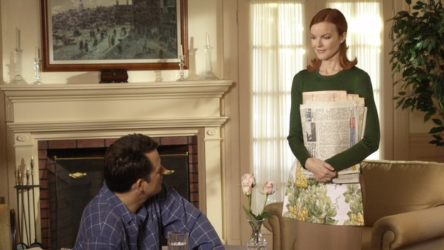 The Happy HomemakerBree Van de Kamp is the perfect homemaker. Her children bemoan her stuffy, formal dinners. So the family dines out at the Saddle Ranch Chop House, where Bree's husband Rex shocks her by saying he wants a divorce. Instead of answering him, Bree fixes him a meal from the salad bar, where she accidentally piles on onions, which Rex is deathly allergic to. At the hospital, Rex tells her he's sick of her being so perfect all the time. Her response is to disappear into the bathroom to water his flowers, where she wipes away the tears before coming back out.