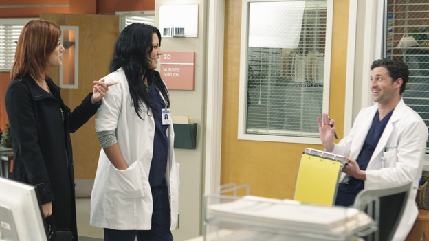 "GREY'S ANATOMY - ""Blink""- Mark flies Addison to Seattle to help with a difficult procedure on his pregnant daughter, Sloan, Owen questions Teddy's motives when she assigns Cristina the lead on a complicated surgery, and Derek's suspicions are raised when the Chief recruits Meredith to assist with a high profile operation on, ""Grey's Anatomy,"" THURSDAY, JANUARY 14 (9:00-10:01 p.m., ET) on the ABC Television Network. (ABC/ADAM TAYLOR)KATE WALSH, SARA RAMIREZ, PATRICK DEMPSEY"