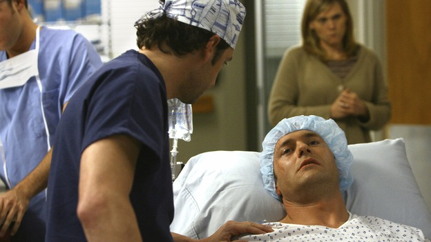 "GREY'S ANATOMY - ""Piece of My Heart"" - Addison returns to Seattle Grace to perform an operation and is taken aback by all of the changes in her old co-workers' lives. Meanwhile Meredith and Derek's clinical trial has its first patient, and Rebecca/Ava returns with shocking news for Alex, on ""Grey's Anatomy,"" THURSDAY, MAY 1 (9:00-10:01 p.m., ET) on the ABC Television Network.  (ABC/SCOTT GARFIELD)PATRICK DEMPSEY, JASON O'MARA, CLEA DUVALL"