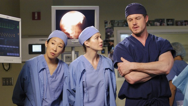 "GREY'S ANATOMY - ""Desire"" - As the interns of Seattle Grace cram for their upcoming exam, the attendings vie for the Chief's position by tending to the chairman of the hospital board after he's admitted as a patient. Meanwhile, Burke struggles to involve Cristina in the wedding planning, things heat up between Addison and Alex, and Derek questions his relationship with Meredith, on ""Grey's Anatomy,"" THURSDAY, APRIL 26 (9:00-10:01 p.m., ET) on the ABC Television Network. (ABC/GALE ADLER)SANDRA OH, ELLEN POMPEO, ERIC DANE"