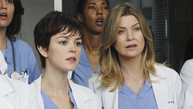 "GREY'S ANATOMY - ""How Insensitive"" - Bailey preps the team with a mandatory sensitivity training prior to admitting a 700-pound patient with compounded medical issues, and the case proves to be challenging in every sense of the word. Meanwhile Derek has to come face to face with a former patient's husband in a wrongful death deposition, and spending time with a heart patient's daughter opens up some old wounds for Cristina, on ""Grey's Anatomy,"" THURSDAY, MAY 6 (9:00-10:01 p.m., ET) on the ABC Television Network. (ABC/RON TOM) NORA ZEHETNER, ELLEN POMPEO"