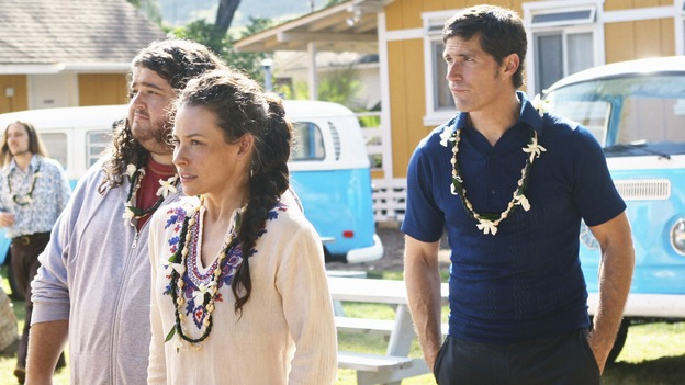 "LOST - ""Namaste"" - When some old friends drop in unannounced, Sawyer is forced to further perpetuate his lie in order to protect them, on ""Lost,"" WEDNESDAY, MARCH 18 (9:00-10:02 p.m., ET) on the ABC Television Network. (ABC/MARIO PEREZ)JORGE GARCIA, EVANGELINE LILLY, MATTHEW FOX"