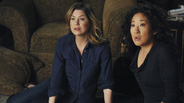 "GREY'S ANATOMY - ""Shock to the System"" -- After weeks of concealing the fact she was pregnant and miscarried, Meredith at last tells Derek and is finally cleared to return to her surgical duties in the wake of the hospital shooting spree; Cristina experiences post-traumatic stress disorder in the midst of an operation; and Bailey refuses to let Alex operate until he agrees to have the bullet in his chest removed, on ""Grey's Anatomy,"" THURSDAY, SEPTEMBER 30 (9:00-10:01 p.m., ET) on the ABC Television Network. (ABC/ERIC MCCANDLESS)ELLEN POMPEO, SANDRA OH"