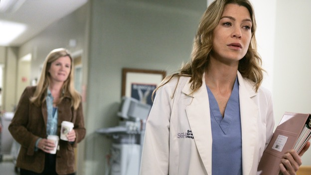 "GREY'S ANATOMY - ""Name of the Game"" - George begins to overstay his welcome at Burke's apartment; Meredith learns a secret about her father; Bailey worries her colleagues will not treat her the same now that she's a mother; and Alex gets a lesson in bedside manners, on ""Grey's Anatomy,"" SUNDAY, APRIL 2 (10:00-11:00 p.m., ET) on the ABC Television Network. (ABC/PETER ""HOPPER"" STONE)MARE WINNINGHAM, ELLEN POMPEO"