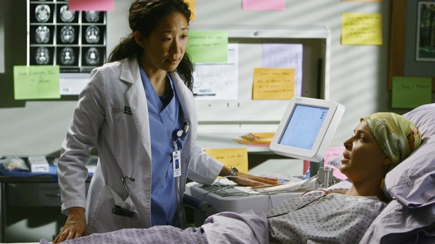 "GREY'S ANATOMY - ""Now or Never"" - Dr. Izzie Stevens confides in Dr. Cristina Yang about a fight she just had with her new husband, Dr. Alex Karev, on ""Grey's Anatomy,"" THURSDAY, MAY 14 (9:00-11:00 p.m., ET) on the ABC Television Network. SANDRA OH, KATHERINE HEIGL"