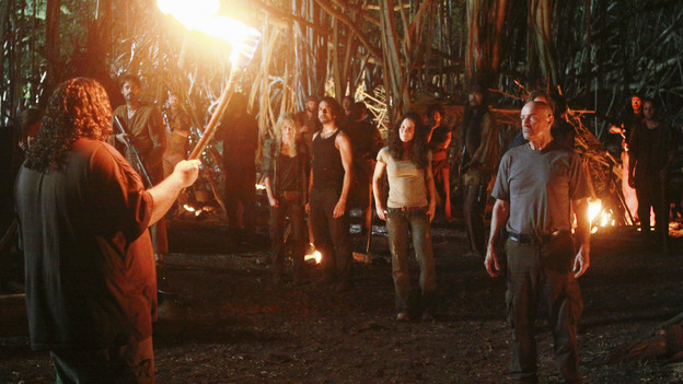 "LOST - ""Everybody Loves Hugo"" - Hurley agonizes over what the group should do next, and Locke is curious about the new arrival to his camp, on ""Lost,"" TUESDAY, APRIL 13 (9:00-10:02 p.m., ET) on the ABC Television Network. (ABC/MARIO PEREZ) JORGE GARCIA, EMILIE DE RAVIN, NAVEEN ANDREWS, EVANGELINE LILLY, TERRY O'QUINN"
