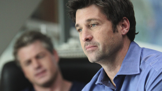 "GREY'S ANATOMY - ""State of Love and Trust"" - As Derek begins his role as interim chief, he faces a potential lawsuit when Bailey and Meredith's patient awakens from anesthesia mid-surgery. Meanwhile, Teddy refuses to place Cristina on her service, as Arizona tests Alex out in Pediatrics, and Mark refuses to speak to a heartbroken Lexie, on ""Grey's Anatomy,"" THURSDAY, FEBRUARY 4 (9:00-10:01 p.m., ET) on the ABC Television Network. (ABC/ADAM LARKEY)ERIC DANE, PATRICK DEMPSEY"