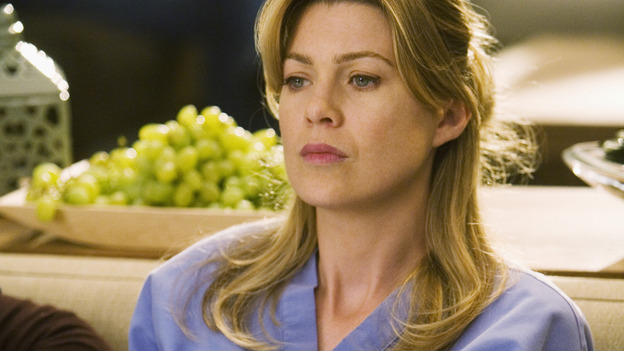 GREY'S ANATOMY - &quot;Brave New World&quot; - Meredith hides in Dermatology, on &quot;Grey's Anatomy,&quot; THURSDAY, OCTOBER 16 (9:00-10:01 p.m., ET) on the ABC Television Network. (ABC/RANDY HOLMES) ELLEN POMPEO
