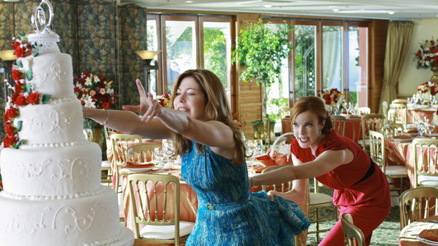 DESPERATE HOUSEWIVES - &quot;The God-Why-Don't-You-Love-Me Blues&quot; - Losing Mike takes its toll on Katherine, on &quot;Desperate Housewives,&quot; SUNDAY, OCTOBER 18 (9:00-10:01 p.m., ET) on the ABC Television Network. As Katherine unravels, Bree comes to her aid; Gaby grows weary of John's intentions towards Ana; with twins on the way, Lynette calls upon her family to step up around the house; Susan learns Julie has been harboring some secrets; and Angie throws a party for son, Danny. (ABC/RON TOM)DANA DELANY, MARCIA CROSS