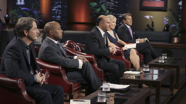"SHARK TANK - ""Episode 203"" - While successful comedian and businessman Jeff Foxworthy makes his debut as a guest ""Shark"" investor, Vincent Pastore (""The Sopranos"") becomes the first celebrity to pitch a business proposition to the Sharks. He and his New Jersey business partner present a novel idea that could have everyone holding on tighter to their money. Also, a flight attendant and her husband, from Georgia, believe their unique portable child's seat will help make traveling with kids much easier; a duo from Florida believe they have the next big lifestyle clothing brand; an entrepreneur from North Carolina has an emotional attachment to a business his father started before he passed away; and there'll be an update on Tiffany Krumin, the maker of Ava the Elephant, a device that went from a home-made prototype to a mass-produced product sold in retail chains nationwide, on ""Shark Tank,"" FRIDAY, APRIL 8 (8:00-9:00 p.m., ET) on ABC. (ABC/MICHAEL ANSELL)JEFF FOXWORTHY, DAYMOND JOHN, KEVIN O'LEARY, BARBARA CORCORAN, ROBERT HERJAVEC"