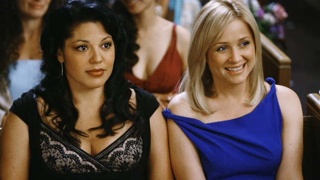 "GREY'S ANATOMY - ""What a Difference a Day Makes"" - Partners Callie Torres and Arizona Robbins watch the wedding of Izzie Stevens and Alex Karev, on ""Grey's Anatomy,"" THURSDAY, MAY 7 (9:00-10:02 p.m., ET) on the ABC Television Network. SARA RAMIREZ, JESSICA CAPSHAW"