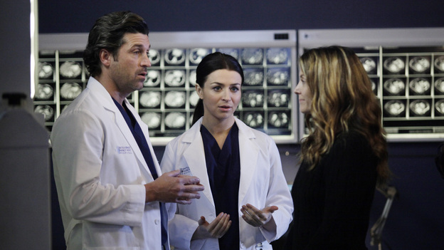 "PRIVATE PRACTICE - ""You Break My Heart"" - Cooper and Charlotte take Erica to Seattle Grace to meet with Derek, Lexie and Amelia regarding a very risky surgery; Scott tells Violet that he would like to take their relationship to the next level; and Addison finds herself caught in the middle of Sam and Jake's fight about a patient.  Meanwhile, Sheldon warns Sam to be cautious as he deals with the return of his sister, Corinne, on Private Practice, THURSDAY, FEBRUARY 16 (10:02-11:00 p.m., ET) on the ABC Television Network.  (ABC/KELSEY MCNEAL)PATRICK DEMPSEY, CATERINA SCORSONE, A.J. LANGER"