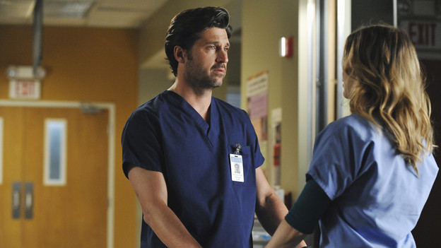 "GREY'S ANATOMY - ""Shock to the System"" -- After weeks of concealing the fact she was pregnant and miscarried, Meredith at last tells Derek and is finally cleared to return to her surgical duties in the wake of the hospital shooting spree; Cristina experiences post-traumatic stress disorder in the midst of an operation; and Bailey refuses to let Alex operate until he agrees to have the bullet in his chest removed, on ""Grey's Anatomy,"" THURSDAY, SEPTEMBER 30 (9:00-10:01 p.m., ET) on the ABC Television Network. (ABC/ERIC MCCANDLESS)PATRICK DEMPSEY, ELLEN POMPEO"