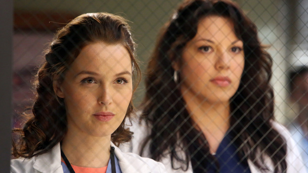 "GREY'S ANATOMY - ""The End is the Beginning is the End"" - Meredith, Derek, Cristina and Arizona receive big news regarding the plane crash lawsuit, Richard avoids Catherine's romantic advances and Jackson takes on one of Mark Sloane's old patients. Meanwhile, Derek begins recovery on his hand, on ""Grey's Anatomy,"" THURSDAY, JANUARY 17 (9:00-10:02 p.m., ET) on the ABC Television Network. (ABC/DANNY FELD)CAMILLA LUDDINGTON, SARA RAMIREZ"
