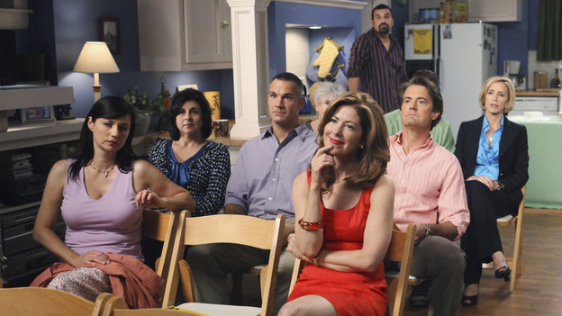 "DESPERATE HOUSEWIVES - ""Everybody Ought to Have a Maid"" - People are quick to pass judgment on others, on ABC's ""Desperate Housewives,"" SUNDAY, OCTOBER 25 (9:00-10:01 p.m., ET). When Juanita's party is on the verge of being ruined after Gaby is deemed a bad mom, Gaby is determined to prove she's a responsible parent; Bree gets defensive when she's judged by a motel maid for having an affair with Karl; Lynette is put off by her new handyman when he defers to Tom for approval on all things; and Susan and Katherine come to blows over Mike. Meanwhile, a lapse in judgment on Danny's part leads to a terrible mishap that Angie and Nick must cover up. (ABC/DANNY FELD)MARIA COMINIS, DANA DELANY, RICARDO ANTONIO CHAVIRA, KYLE MACLACHLAN, FELICITY HUFFMAN, ORSON BEAN, KEVIN RAHM, KATHRYN JOOSTEN, MARCIA CROSS, TUC WATKINS, EVA LONGORIA PARKER"