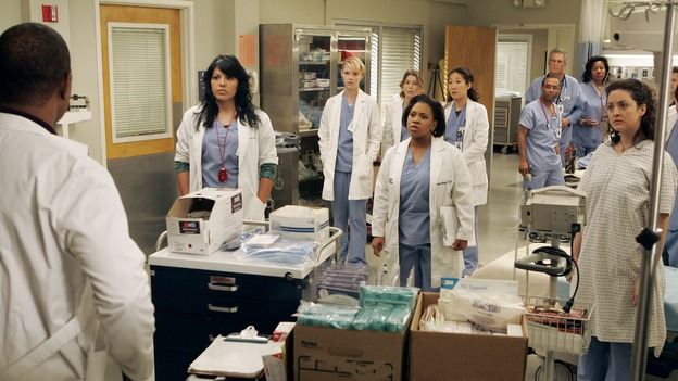 "GREY'S ANATOMY - ""Walk on Water"" - Beginning February 8, Grey's Anatomy enters a three-episode story arc that will challenge the interns of Seattle Grace -- and ""Grey's"" fans as well -- like never before. ""Walk on Water"" airs THURSDAY, FEBRUARY 8 (9:00-10:00 p.m., ET) on the ABC Television Network. Elizabeth Reaser (Independent Spirit Award winner for ""Sweet Land"") guest stars as a patient over multiple episodes. (ABC/VIVIAN ZINK)JAMES PICKENS, JR., SARA RAMIREZ, KATHERINE HEIGL, ELLEN POMPEO, CHANDRA WILSON, SANDRA OH, KALI ROCHA"
