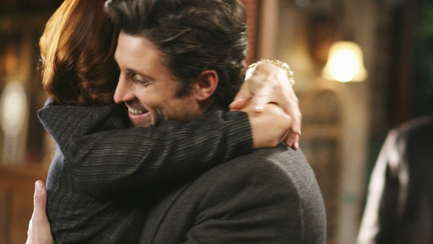 GREY'S ANATOMY - &quot;Before and After&quot; - Addison embraces Derek after he saved the life of her brother, Archer, on &quot;Grey's Anatomy,&quot; THURSDAY, FEBRUARY 12 (9:00-10:02 p.m., ET) on the ABC Television Network. (ABC/RICHARD CARTWRIGHT) KATE WALSH, PATRICK DEMPSEY