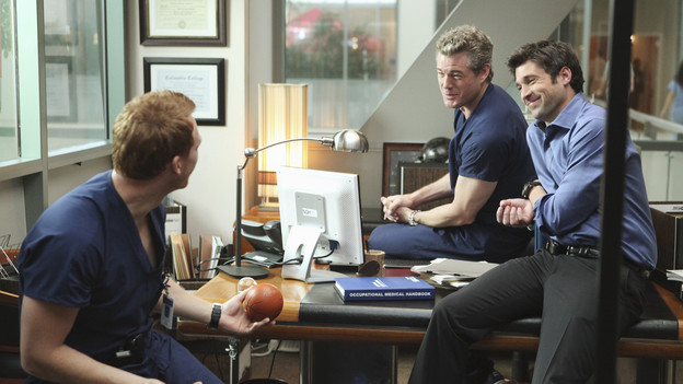 "GREY'S ANATOMY - ""State of Love and Trust"" - As Derek begins his role as interim chief, he faces a potential lawsuit when Bailey and Meredith's patient awakens from anesthesia mid-surgery. Meanwhile, Teddy refuses to place Cristina on her service, as Arizona tests Alex out in Pediatrics, and Mark refuses to speak to a heartbroken Lexie, on ""Grey's Anatomy,"" THURSDAY, FEBRUARY 4 (9:00-10:01 p.m., ET) on the ABC Television Network. (ABC/ADAM LARKEY)KEVIN MCKIDD, ERIC DANE, PATRICK DEMPSEY"