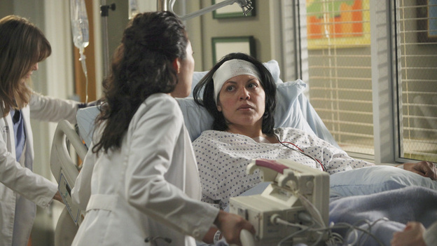 "GREY'S ANATOMY - ""It's a Long Way Back"" - Everyone pulls together to help Callie and baby Sofia on their painstaking journeys to recovery in hopes of allowing mother and baby to finally meet; the sudden death of a clinical trial patient has Derek proceeding with more caution while Meredith makes a calculated and risky move; Alex treats a cranky old rich woman dying of cancer and gets an idea for a grandiose endeavor that is sure to get him the Chief Resident spot; and Teddy is pleasantly surprised by the return of a familiar face, on ""Grey's Anatomy,"" THURSDAY, APRIL 28 (9:00-10:01 p.m., ET) on the ABC Television Network. (ABC/ADAM LARKEY)ELLEN POMPEO, SANDRA OH, SARA RAMIREZ"