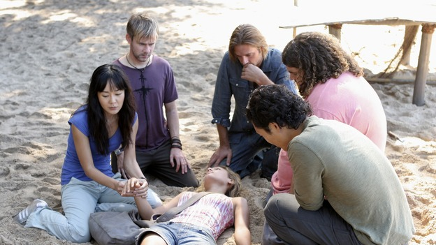 "LOST - ""Expos"" - Hurley begins to suspect that Sawyer may be involved in an island mystery surrounding two fellow survivors, and Sun learns the truth about her past kidnapping attempt by ""The Others,"" on ""Lost,"" WEDNESDAY, MARCH 28 (10:00-11:00 p.m., ET), on the ABC Television Network. (ABC/MARIO PEREZ)YUNJIN KIM, DOMINIC MONAGHAN, KIELE SANCHEZ, JOSH HOLLOWAY, DANIEL DAE KIM, JORGE GARCIA"
